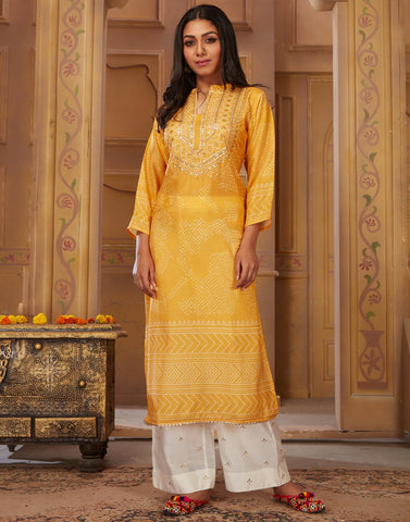 MBZ Meena Bazaar-Yellow Cotton Kurti