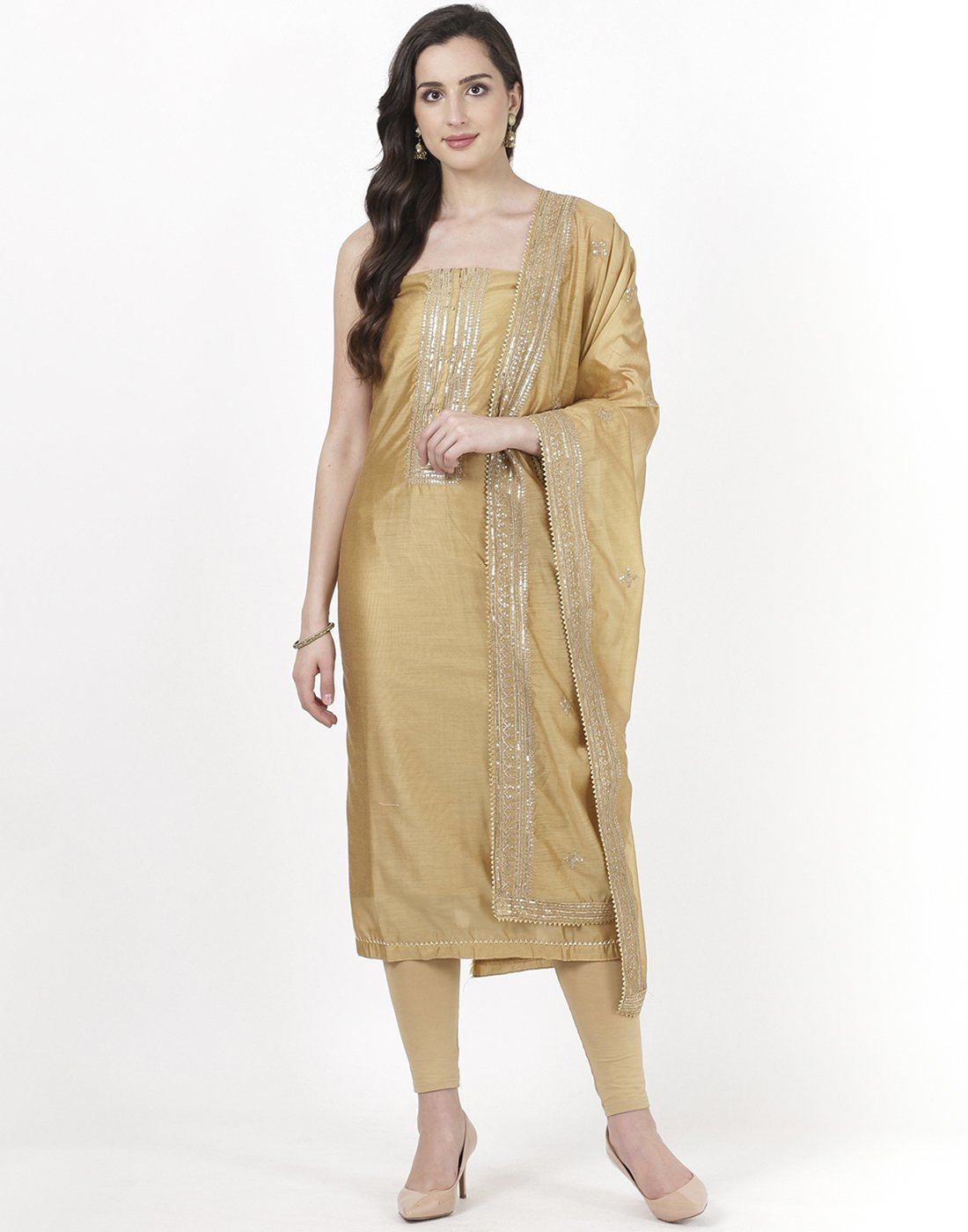 Beige Chanderi Suit Set