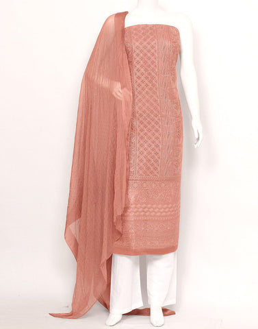 Onion Pink Art Georgette Suit Set