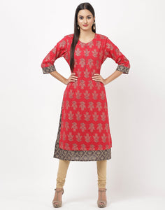 MBZ Meena Bazaar-Red Cotton Kurti