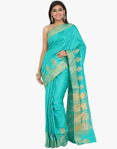 Self Jaquard Handloom Silk Woven Saree With Zari Border By Meena Bazaar