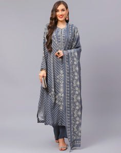 Grey Blue Salwar Kameez