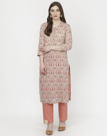 Cream Peach Cotton Kurti with Palazzo
