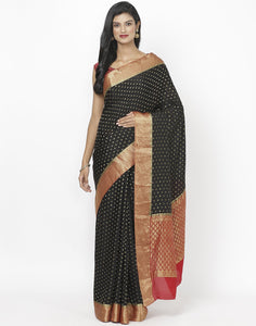 Black Crepe Jacquard Saree