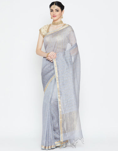 Grey Cotton Linen Saree