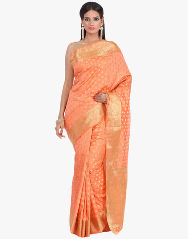 Handloom Silk Saree With All-over Zari Booti By Meena Bazaar