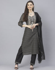 Black Cotton Chanderi Salwar Kameez