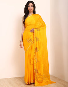 Yellow Art Crepe Saree
