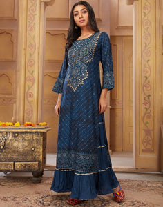 MBZ Meena Bazaar-Blue Cotton Chanderi Kurti