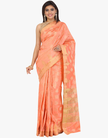 Handloom Silk Saree With All-over Woven Zari Booti By Meena Bazaar