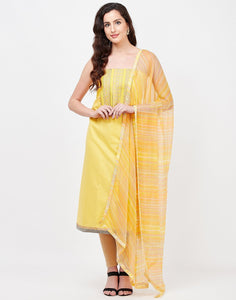 MBZ Meena Bazaar-Yellow Cotton Suit Set