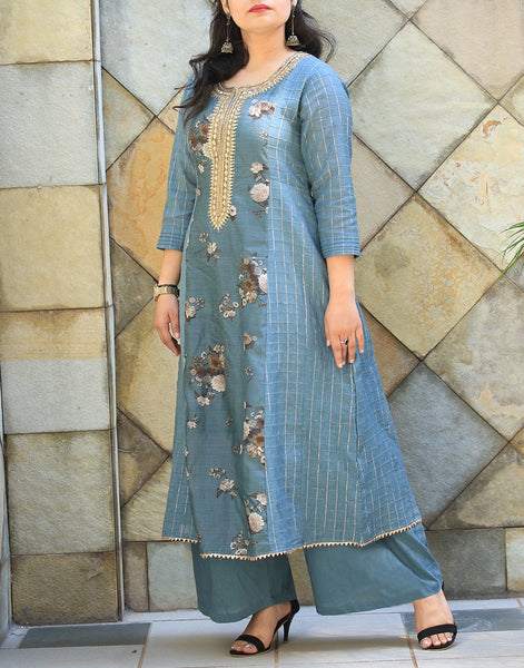 Grey Green Chanderi Kurti with Palazzo