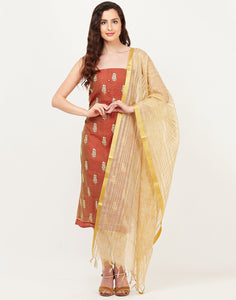 MBZ Meena Bazaar-Rust Beige Chanderi Suit Set