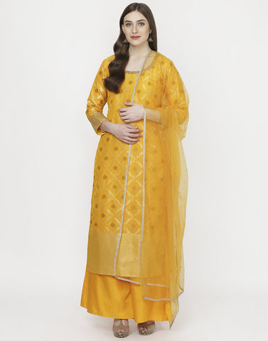 MBZ Meena Bazaar-Orange Art Handloom Salwar Kameez