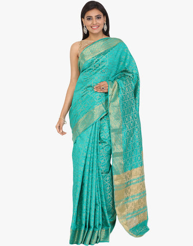 Handloom Silk Saree With All-over Woven Zari Jaal By Meena Bazaar
