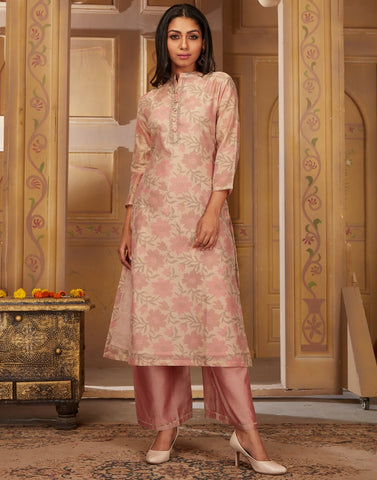 Cotton Chanderi Kurta with Plazzo