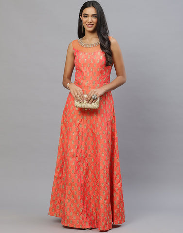 Assorted Handloom Dupion Long Dress