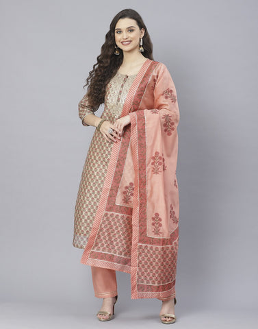 Peach and Firozee Cotton Chanderi Salwar Kameez