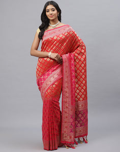 Banarasi Woven Silk Saree  With Embroidery