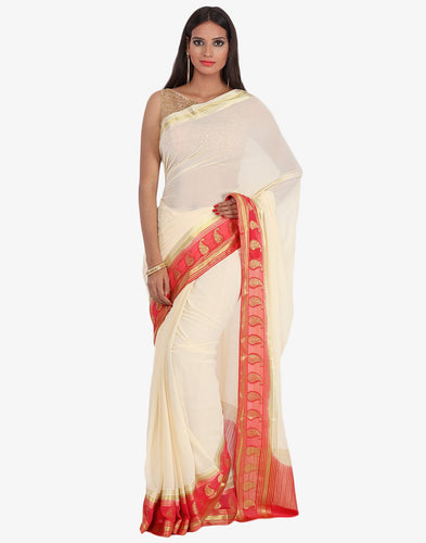 Plain Chiffon Saree With Woven Paisely Booti Border By Meena Bazaar