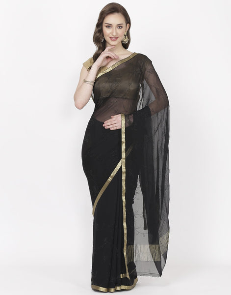 Navy Blue Chiffon Saree