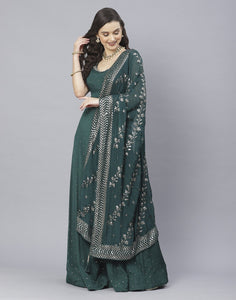 Wine and Bottle Green Art Crepe Salwar Kameez