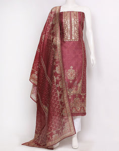 Wine Chanderi Suit Set
