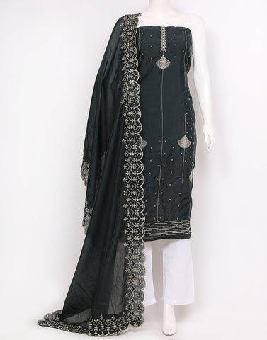 Grey Green Chanderi Suit Set