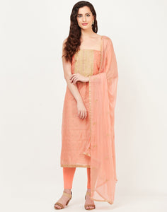 MBZ Meena Bazaar-Peach Chanderi Suit Set