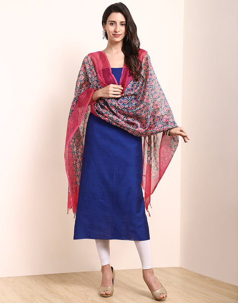 Blue Pink Chanderi Suit Set