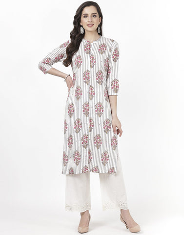 MBZ Meena Bazaar-Cream Cotton Kurti