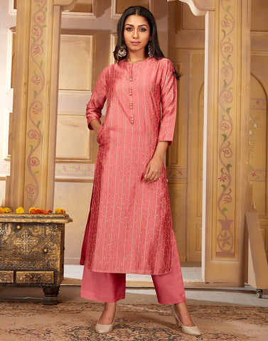 Straight Chanderi Cotton Kurta with Plazzo Pants