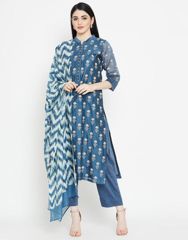 MBZ Meena Bazaar-Navy Blue Cotton Chanderi Salwar Kameez