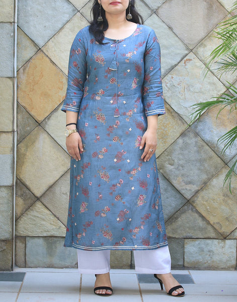 Teal Blue Cotton Kurti