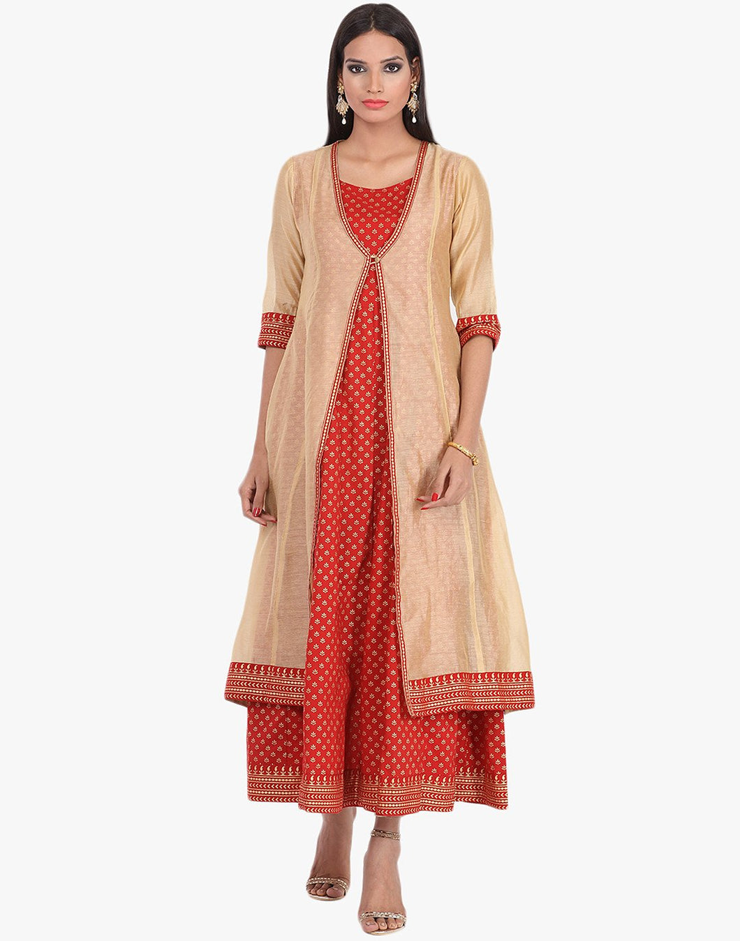 Double Layered Khari Printed Anarkali Cotton Chanderi Kurti By Meena Bazaar