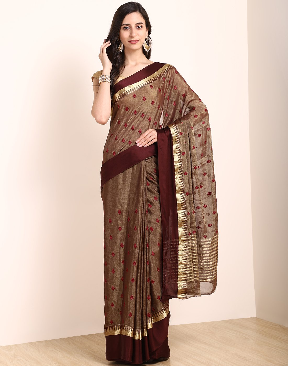 MBZ Meena Bazaar-Brown Chiffon Saree