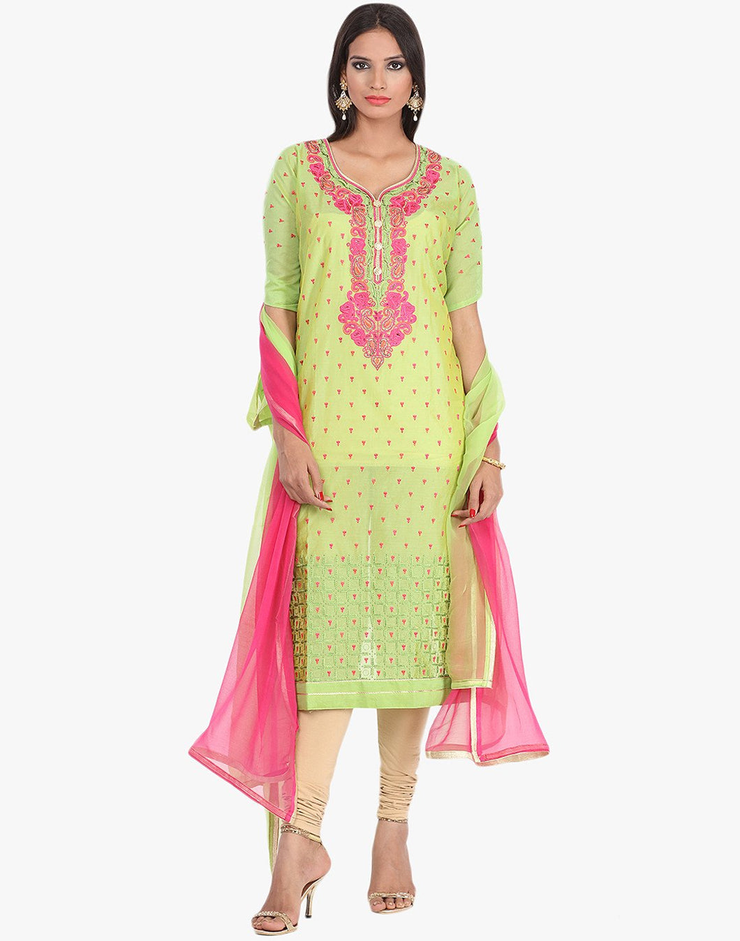 Unstitched Cotton Chanderi Suit With Thread Embroidery on Yoke By Meena Bazaar