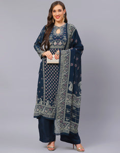 Grey Blue and Wine Salwar Kameez
