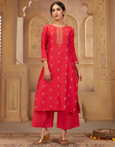 MBZ Meena Bazaar-Cotton Chanderi Kurti with Plazzo