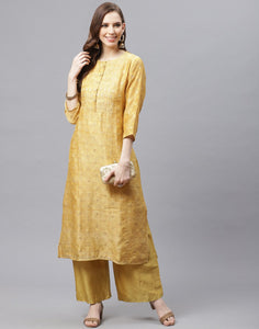 Straight Chanderi Kurta with Plazzo Pants
