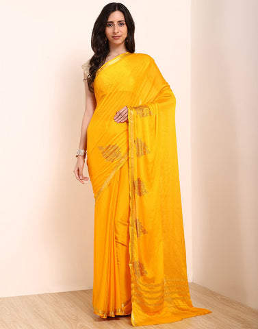MBZ Meena Bazaar-Yellow Art Crepe Saree