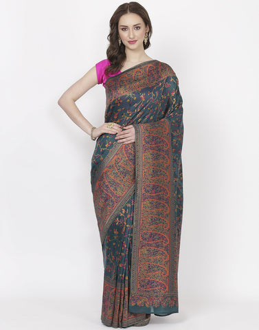 Green Woven Tusser Saree