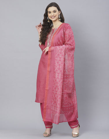 Rani and Navy Blue Cotton Chanderi Salwar Kameez