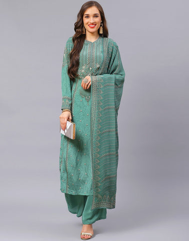 Aqua Green and Pink Salwar Kameez