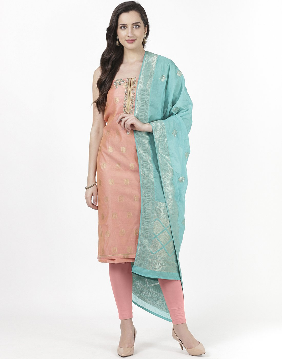 Peach Chanderi Suit Set