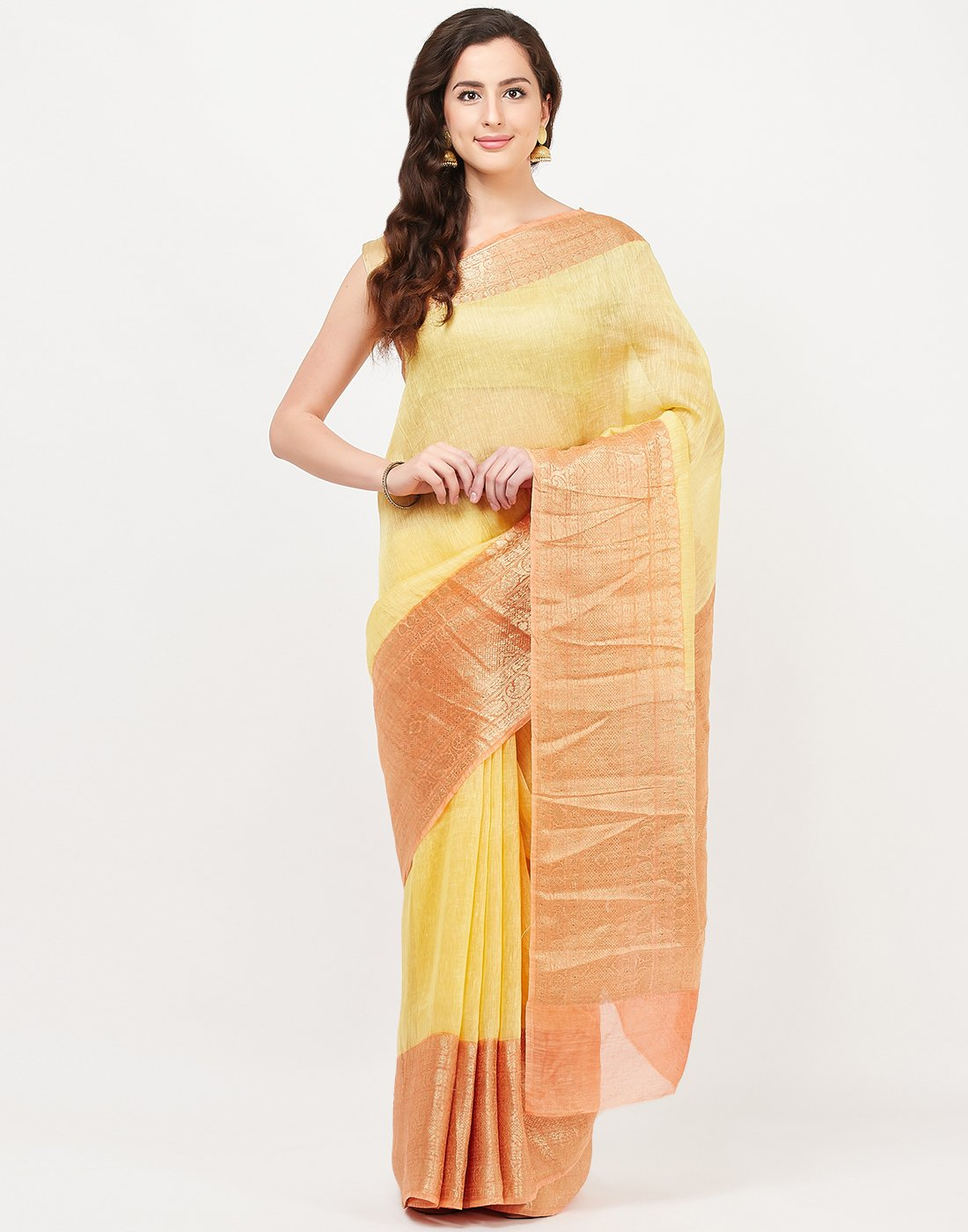 Yellow Cotton Woven Saree