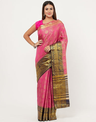MBZ Meena Bazaar-Navy Blue Art Handloom Saree