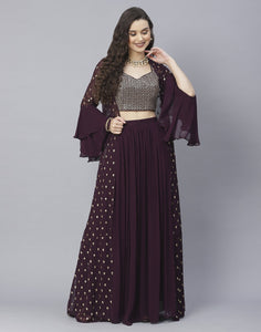 Bottle Green, Wine and Navy Blue Georgette Salwar Kameez with Shrug