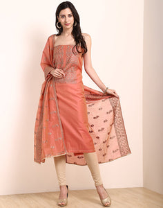 Peach Brown Chanderi Suit Set