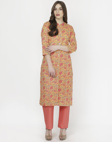 MBZ Meena Bazaar-Yellow Peach Cotton Kurti with Palazzo